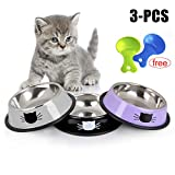 Legendog Kitten bowl,3pcs Cat Bowls Stainless Steel Non-slip Cats Bowl Set with Cute Cats Pattern,Pet Bowls for Cats and Puppy