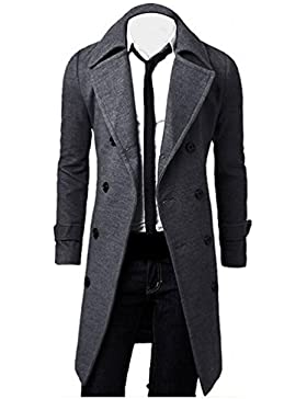 OverDose Hombres de invierno Slim elegante Trench Coat Double Breasted Chaqueta larga Parka (XXL, Gris)
