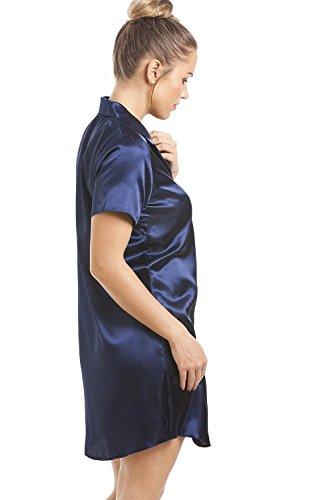 Camille - Chemise de nuit pour femme - longueur genou - satin - bleu marine Bleu Marine