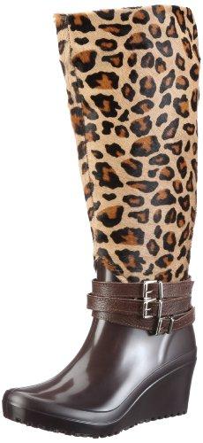 Nat-2 Anim WANTLE39, Damen Stiefel, Dunkelbraun (leopard), EU 39 (Leopard Print Stiefel)
