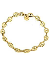 Bracelet Chaîne Grain de Café 18ct or doublé, 7 mm, 17 cm, Femme 3199fa1eab6d