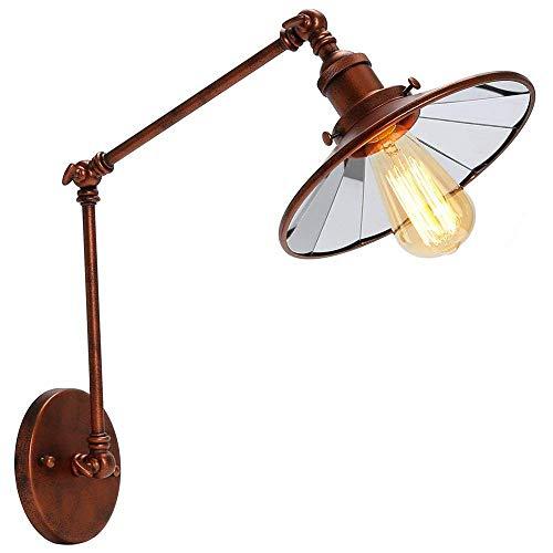 ACZZ Loft-Stil Schwinge Edison Wandleuchte Spiegel Schatten Eisen Wandleuchte industrielle Vintage Wand Leuchten Scheune Beleuchtung (E26 / E27),15 + 15 - Eisen-wand-schatten