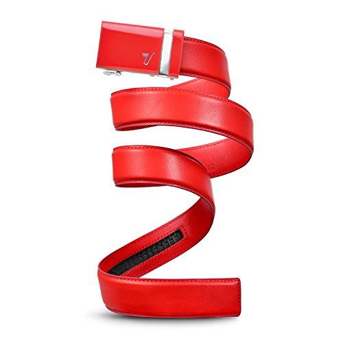 Mission Gürtel Herren Leder Gürtel RATCHET BELT, 40mm massivem Collection Gr. Medium, Red Buckle & Rooster Red Leather Gürtel Männer Perry Ellis