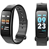 Fitness Activity Tracker With Heart Rate Monitor Watch, Waterproof Bluetooth Smart Bracelet With Pedometer Sleep Blood Pressure Monitor For Women Men Kids Compatible For Android & IOS,Black