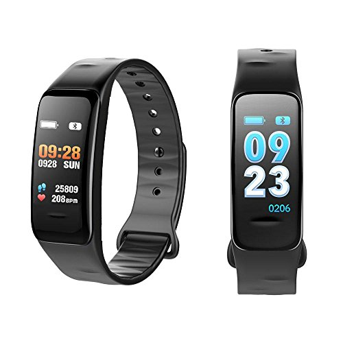 Price comparison product image Fitness Activity Tracker with Heart Rate Monitor Watch,  Waterproof Bluetooth Smart Bracelet with Pedometer Sleep Blood Pressure Monitor for Women Men Kids Compatible for Android & IOS, Black