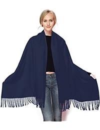 GWELL Klassische Kaschmir Poncho Cape Überwurf Damen Schal für Winter Herbst Oversize 190x70cm