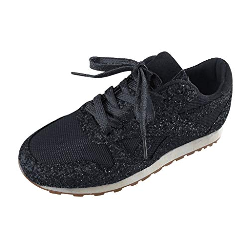 Dorical Damen Pailletten Glitzer Sneaker Frauen Elegant Laufschuhe Outdoor Freizeitschuhe Sportschuhe Stoffschuhe Atmungsaktiv Schnürschuhe Gr 36-43(Schwarz,35 EU)