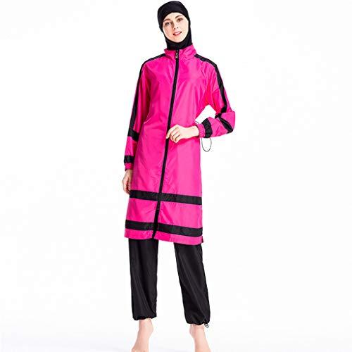 Lazzboy Frauen Muslimischen Badeanzug Mit Kappe Volltonfarbe Beachwear Bademode Zurückhaltenden Swimwear Hijab Abnehmbarer, Voller Länge Burkini(Rosa,L) Racing Sport Infant Bodysuit