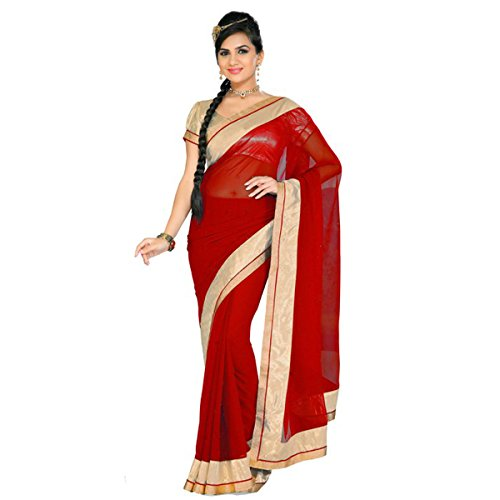 Indian E Fashion Embroidered Turquoise Half And Half Georgette Saree With Blouse Material For Party wear,Wedding,Casual sarees  available at amazon for Rs.299