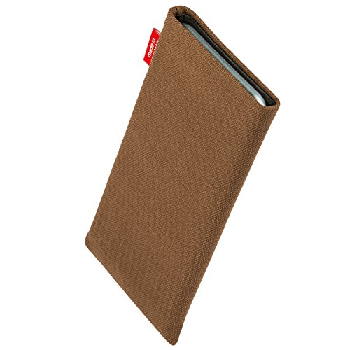 fitBAG Jive Grau Handytasche Tasche aus Textil-Stoff mit Microfaserinnenfutter für Apple iPhone 4 16GB 32GB iPhone4 16 32 GB Rave Braun
