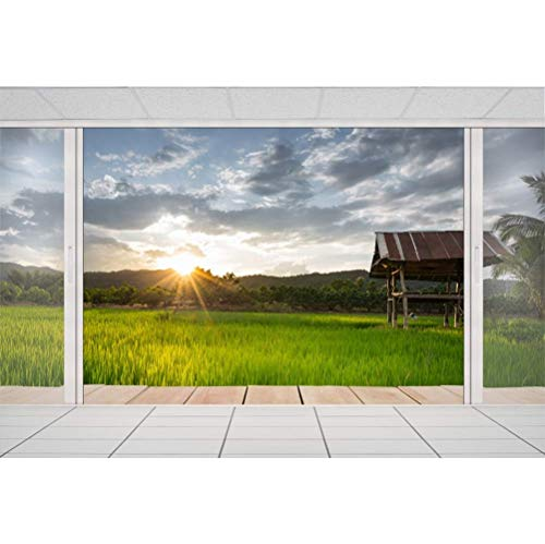 GzHQ 7x5ft Abenddämmerung untergehende Sonne Französisch Fenster in Richtung Green Farmland Scenic Fotografie Hintergrund Outdoor Sightseeing Room Holiday Maker Shoot Sommerurlaub Wallpaper