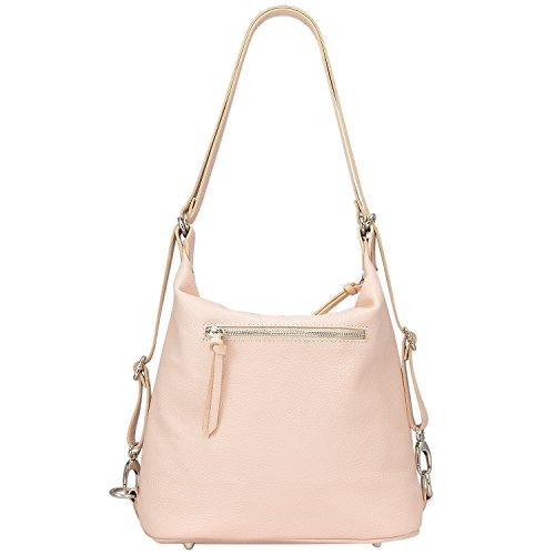 Edge Handbags - Borsa da donna a mano - Borsa Hobo in vera pelle italiana - Zainetto donna - Dimensioni: 32 x 28 x 13.5 cm (L x A x P) - Borse da donna disponibili in vari colori - Mod. Kate 013 Hobo Rosa