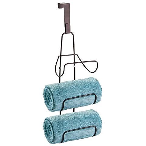 mDesign Wall Mount or Over Door Bath Towel Holder Bar - Bronze