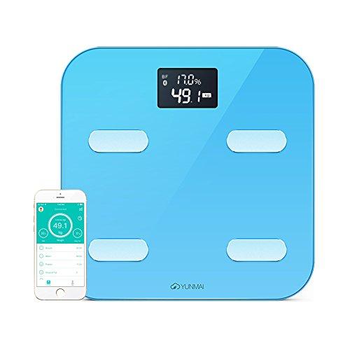 YUNMAI - Bilancia smart Bluetooth per monitoraggio peso e grasso corporeo - Blu