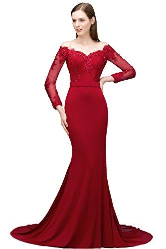 Misshow Damen Kleid Lang Elegant Hochzeitsgast Lang Ärmel V-Ausschnitt Elegant Abend Formelle Kleider Prom - Rote Lang Prom Kleid