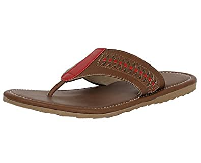 ABS S503 Men's Brown Synthetic Leather TPR Casual Wear Outdoor Slippers - Size 7