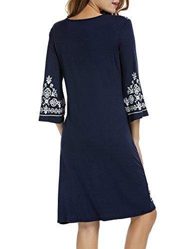 HOTOUCH Damen Tunika Strandkleid Nachthemd Sleepshirt A-Linie Nachtkleid Nachtwäsche Bohemian Strandtunika 3 /4 Ärmel Mit V-Ausschnitt Typ1-Navy Blau