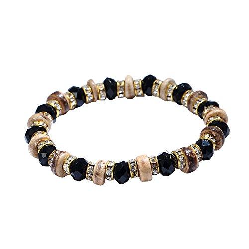 Man9Han1Qxi Ethnische Frauen Runde Kokosnussschale Strass Perlen Armband elastisches Handgelenk Schmuck Lady Armband für Männer und Frauen Damen Black
