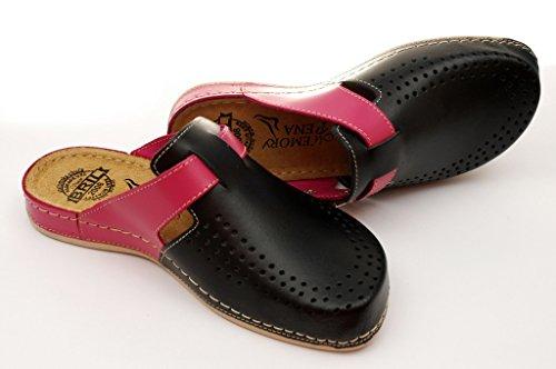 Dr Punto Rosso BRIL Y77 Zoccoli Sabot Pantofole Scarpe Pelle Donna Nero-Rosa