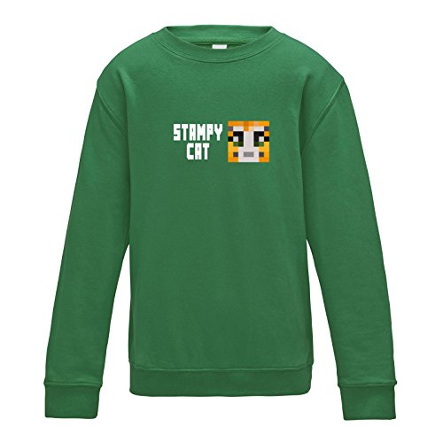 Apparel Printing Stampy Cat Face Player Skin Boys Sweatshirt, Kelly Green, X-Large