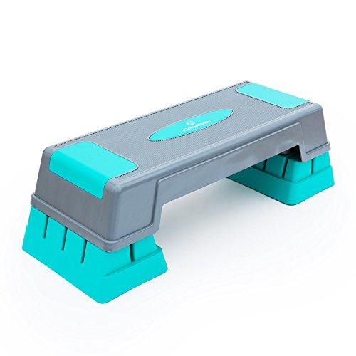 #DoYourFitness® Aerobic Steppbrett| Stepper - höhenverstellbar (3 Stufen : 12cm 17cm 22cm) - Maße 70x28cm - Fitness | Body Step Novella grau/türkis