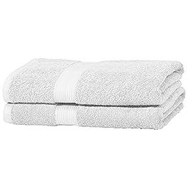 AmazonBasics – Set di 2 asciugamani da bagno che non sbiadiscono, colore Bianco Candido