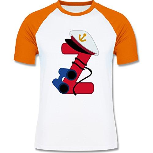 Anfangsbuchstaben - Z Schifffahrt - zweifarbiges Baseballshirt für Männer Weiß/Orange