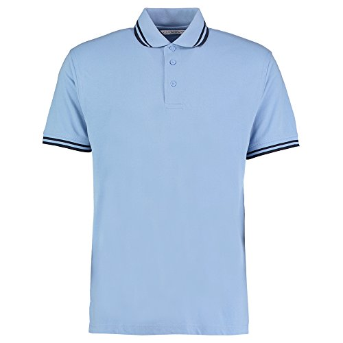 Kustom Kit Herren Modern Poloshirt Light Blue/ Navy