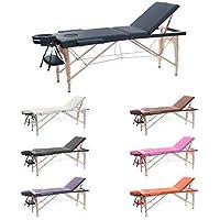 H-ROOT 3 Section Table de Massage Grande Canapé Lit Plinthe de Thérapie Salon Tatouage Reiki Massage Suédois Thérapeutique (186cm x 60cm x 62-83cm, Bleu marin)