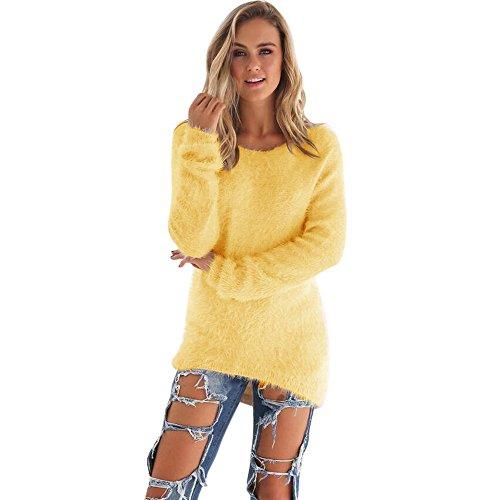 YunYoud Damen Große Größe O-Hals Pullover Frau Mode Beiläufig Einfarbig Sweater Plüsch Lange Ärmel Bluse Irregulär Warm Tops Herbst Winter Sweatshirt (XXXL, Gelb) (Fleece-v-hals-tunika)