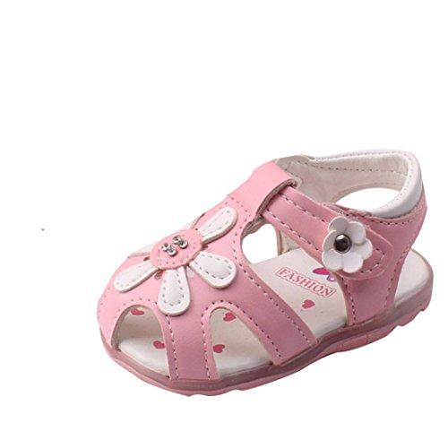 Janly Kleinkind-Sonnenblume-Mädchen-Sandelholze beleuchtete Soft-Soled Prinzessin-Schuhe Rosa
