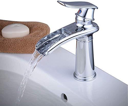 ZHYF Armatur Waschtischarmatur Waschtischmischer Monoblock Wasserfall Chrom Einhebelmischer, Messing massiv -