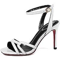 cf4cb6f1 YXINY Zapatos de tacón Tacones Sandalias Mujer Sexy Moda Punta Abierta Hebilla  Verano 9cm Blanco /