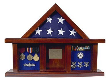 w Box with Display Case for 3 x 5ft Flag - Felt in Black, Blue, or Red (Black Selected) by Freedom Display Cases (Flag Display-box)