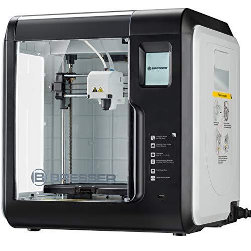 Bresser 3D Drucker mit WLAN und integrierter Kamera, inklusive EPA Filter für saubere Abluft, Spachtel, 2 Extruder-Düsen (1x Ersatz), 2 x PLA Filament (weiß, schwarz) zum sofortigen Start
