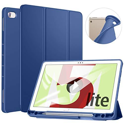 ZtotopCase Hülle für Huawei MediaPad M5 Lite 10, TPU Soft Shell Hülle Schutzhülle mit Stifthalter, Automatischem Schlaf/Aufwach, Anwendbar für Huawei MediaPad M5 Lite 10.1 Zoll 2018, Marine Blau