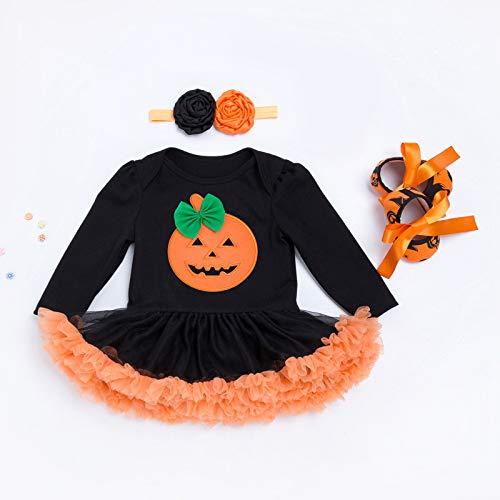 Hexenmeister Kostüm Winter - Weibliche Baby Halloween Kostüm Cartoon Kürbis Langarm Kleid Rock Außenhandel Kinderkleidung Bogen Kürbis 80 (12-24 Monate)