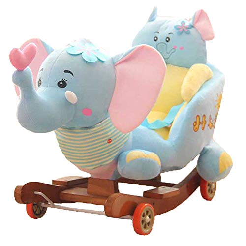Baby Rocking Chair Horse, Donkey Wood Ride-On Rocker Perfect for Baby 5-48 Monate,Blue