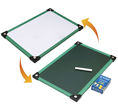 White and Green 2 in 1 Writing Board (Slate) for Kids - Size (35X24 cm) Color May Vary