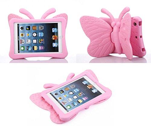 FUQUN Hülle für Apple iPad Mini 1/2/3/4, für Kinder, süßer Cartoon, leicht, stoßfest, strapazierfähig, aus EVA-Schaum, 7,9 Zoll, mit Ständer rosa (1) (Rainbow Print Screen)