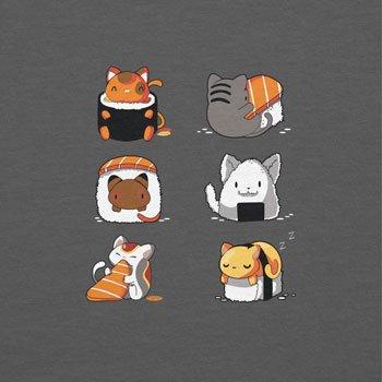NERDO - Cat Sushi - Herren Kapuzenpullover Grau