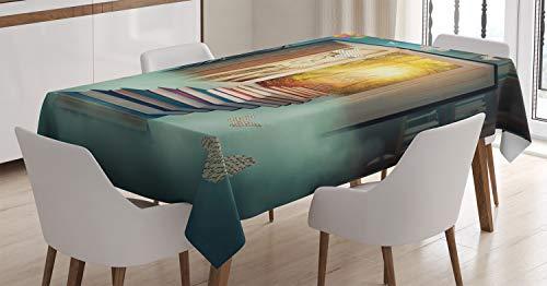 Abakuhaus fantasia tovaglia, libro magico e animali, antimacchia stampata con la tecnologia all'avanguardia lavabile, 140 x 170 cm, teal e giallo