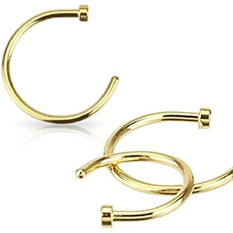 PiercedOff - Piercing tondo per naso in oro IP, 18 Gauge (1 mm x disponibile in varie lunghezze)
