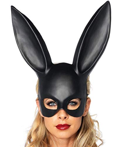 JRKJ Bunny Girl Maske Gruselige & Lustige Masken - Perfekt Für Karneval & Halloween - Erwachsenen Kostüm Unisex Für Alle , Clown @ Mattschwarz (Gruselig Bunny Kostüm)