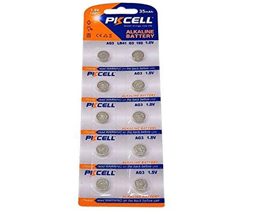 10 x AG3 1,5V Quecksilberfrei 35 mAh ( 1 Blistercard a 10 Batterien ) LR41 192 Markenware PKCELL - 1,5 V Dc Lithium-batterien