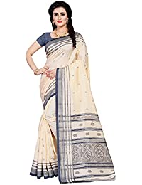SAREE MALL Women'S Patola Silk Bengali Saree With Blouse Piece (Cream & Grey_Free Size )
