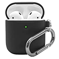 Airpods 2 Case with Keychain - Waterproof Silicone Cover Airpods Accessories for AirPods 2 Wireless Charging Case (Black)