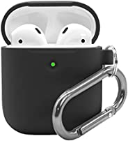 Airpods 2 Case with Keychain - Waterproof Silicone Cover Airpods Accessories for AirPods 2 Wireless Charging C