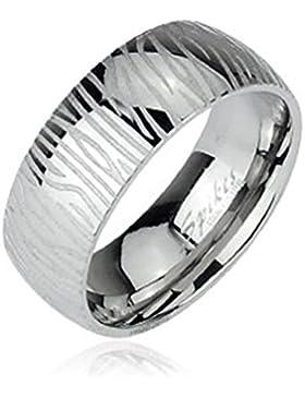 Paula & Fritz® Ring aus Edelstahl Chirurgenstahl 316L 6 oder 8mm breit Eingraviertes Zebramuster verfügbare Ringgrößen...
