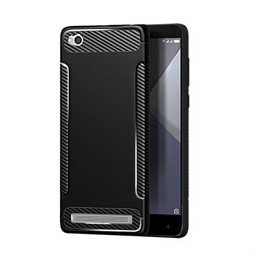 Carols Redmi 5A Hülle, Xiaomi Redmi 5A Case Flexiblem TPU Silikon Hybrid Schutzhülle Kohlenstoff-Fasern Tasche Ultra Slim Handyhülle für Xiaomi Redmi 5A - Schwarz A
